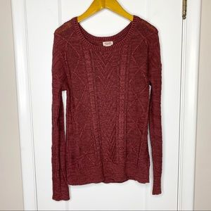Mossimo burgundy cable knit sweater Medium